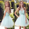 Unique Rhinestone Beaded Short Homecoming Dresses Sexy Backless Beading Short Graduation Dress Simple Tulle Ruffles Part Dress