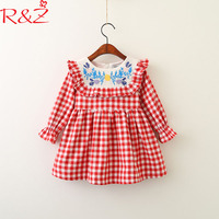 R Z Baby Girls Dresses 2018 New Spring Embroidered Stitching Doll Collar Lattice Princess Dress For