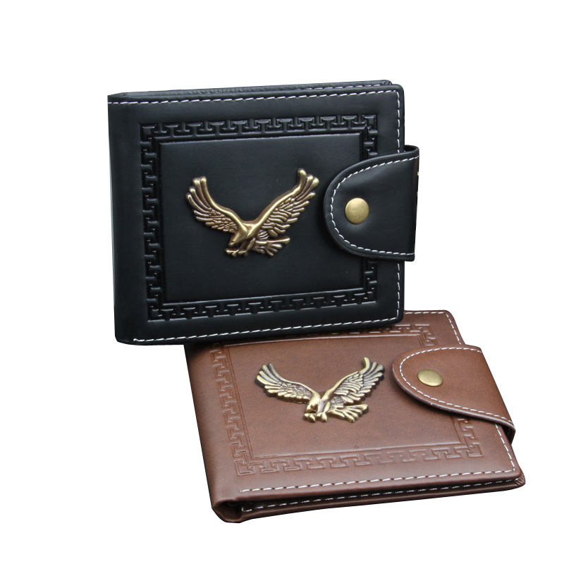 New Vintage Metal Eagle Men Wallets Famous Brand Man Wallet Leather with Coin Pocket Purse for Credit Cards Short Slim bogesi men s wallets famous brand pu leather wallets with wallet card holder thin slim pocket coin purse price in us dollars