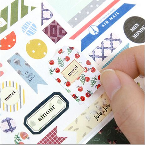 8pcspack cute flower printing paper stickers swatch book decorative diary sticker diy scarpbook bookmark masking label stickers - Color Swatch Book