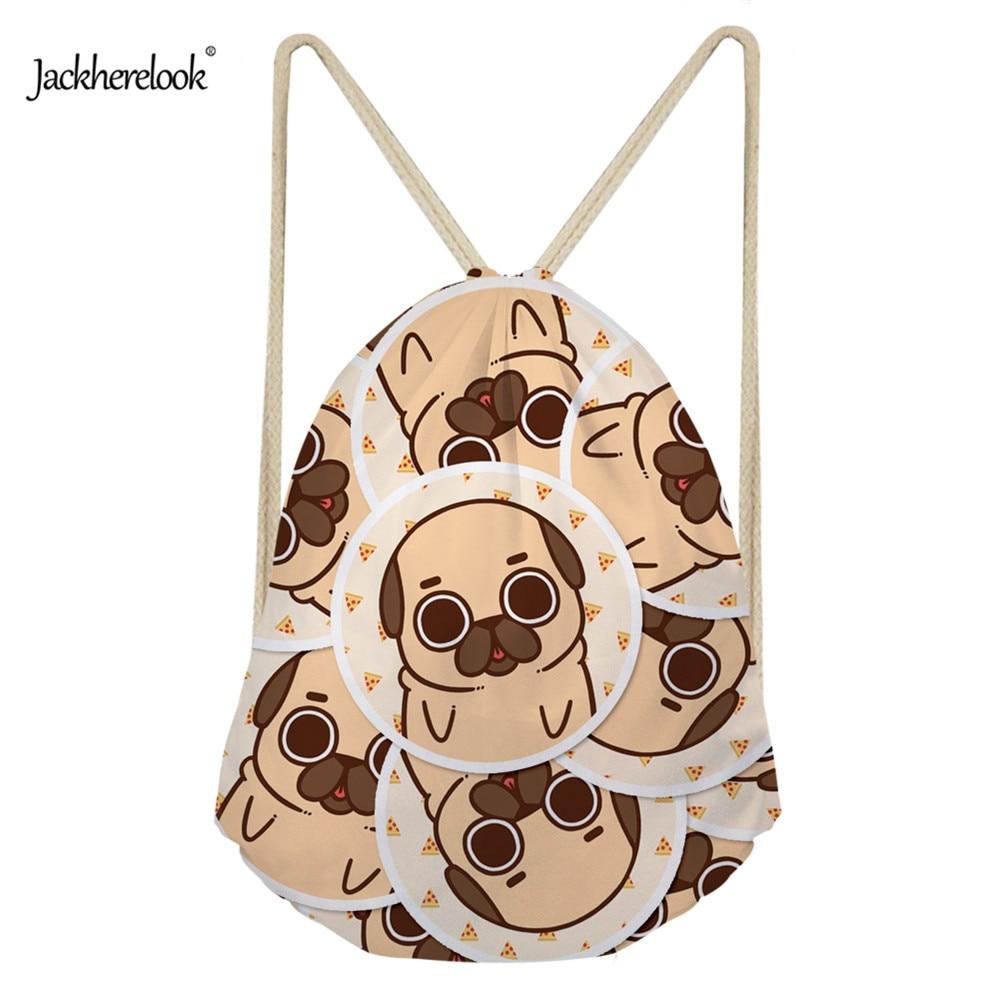 Jackherelook Drawstring Bag for Girls Travel Cute 3D Pug Dog Pattern Women Storage Canvas Bag Package