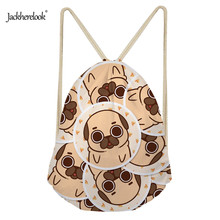 Jackherelook Drawstring Bag for Girls Travel Cute 3D Pug Dog Pattern Women Storage Canvas Bag Package Backpack Kids School Bags