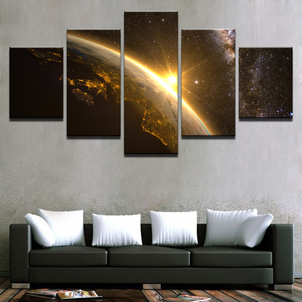 Lienzo pinturas pared arte HD imprime marco 5 unidades Planeta ...