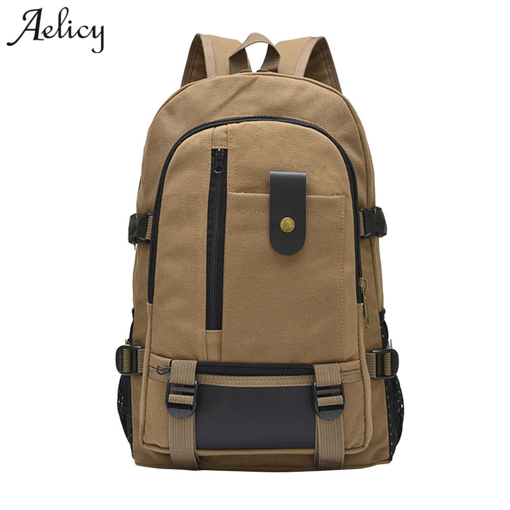 Aelicy Men Casual Canvas Bag Designer Backpack New Fashion Waterproof Laptop Backpacks Men Women Fashion Travel Zipper Bag 2019