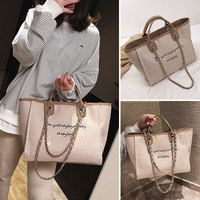 Casual Letter Large Capacity Female Shoulder Bag Luxury Canvas Chain Women Handbags Multifuction Fashion Portable Totes For Girl