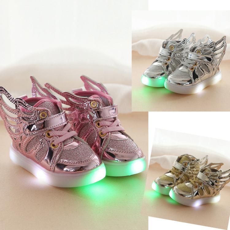 Лидер продаж детская обувь с подсветкой с крыльями Новинка весны осень-зима детские кроссовки для мальчиков и девочек светящиеся туфли ... ...