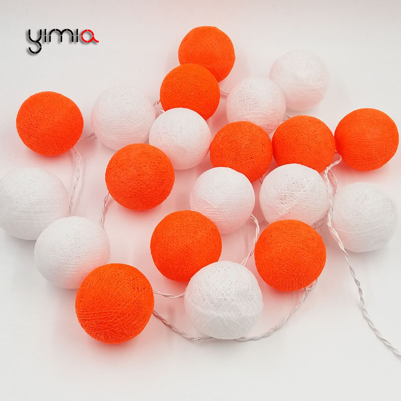 YIMIA 20 White Orange Cotton Ball Lights 35 LED String Fairy Christmas Holiday Lights Garland Gerlyanda