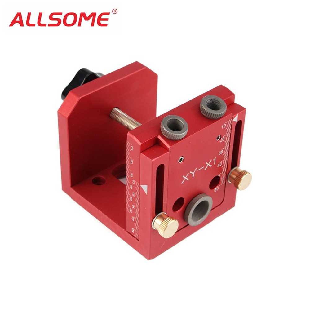 ALLSOME Pocket Hole Drill Guide Dowel Jig Set Woodworking Joinery Master Kit Carpentry HT1953