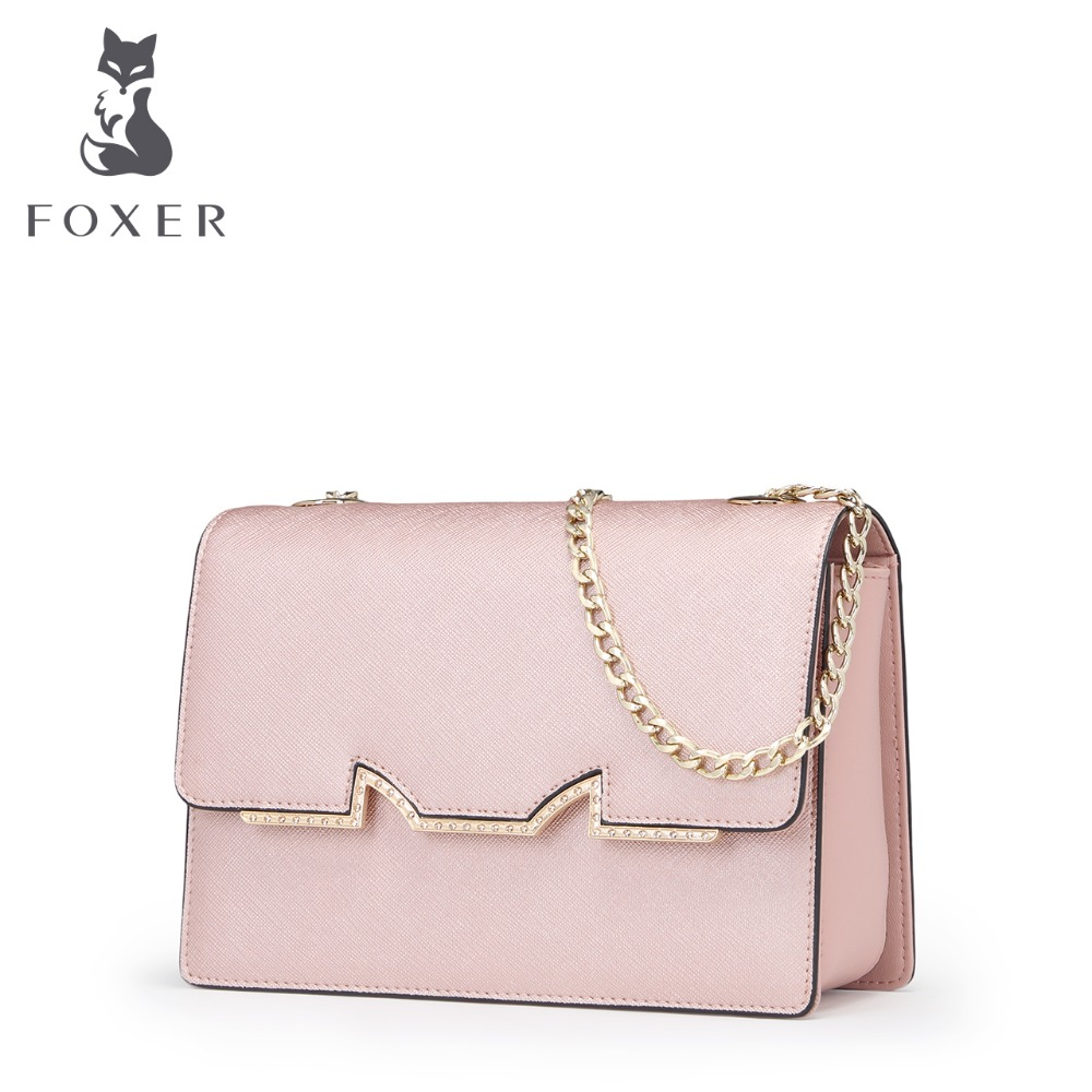 FOXER Brand Women Cow Leather Crossbody bag Clutch Bags Girl Fashion Female Chain Bags Women Leather Shoulder bag foxer brand women s bag fashion chain embossing cow leather crossbody bag messenger bag for women female shoulder bags
