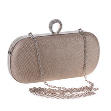 Bamboo Charm Fashion Simple Evening Party Handbag Clutch For Women Crystal Flap Pouch Metal Chain Shoulder Bag Crossbody Buckle metal ring detail flap pouch bag