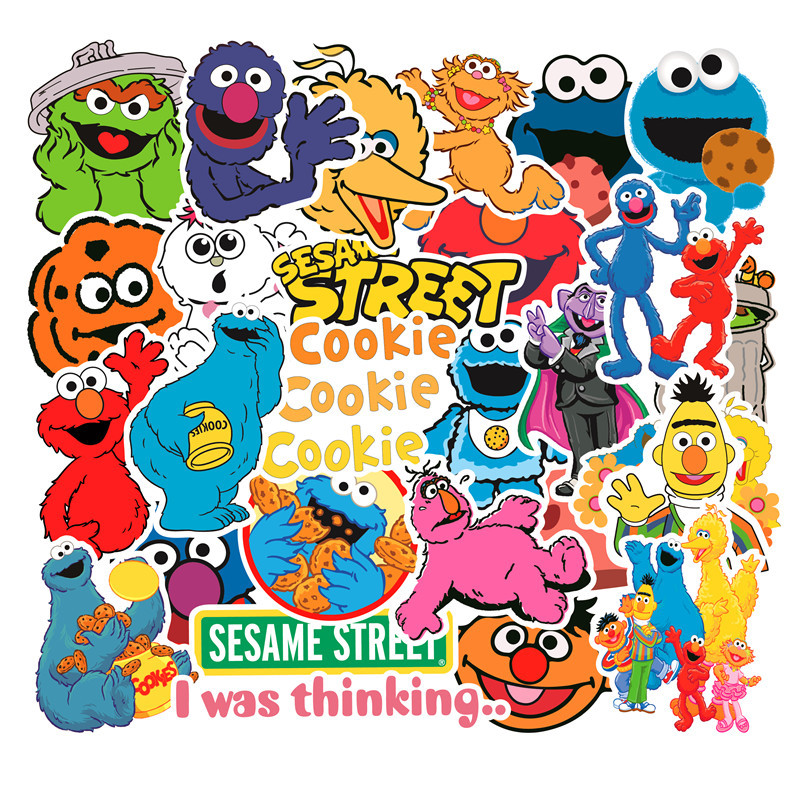 50PCS American Sesame Street Stickers For Car Styling Bike Motorcycle Phone Laptop Travel Luggage Cool Funny DIY TOY Sticker F4