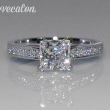 Vecalon простое Ювелирное кольцо принцесса огранка 1ct AAAAA Циркон Cz 925 пробы серебро обручальное кольцо для женщин