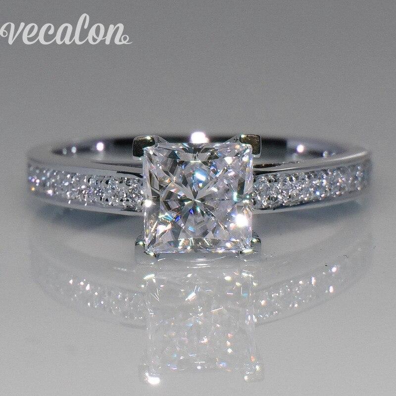Vecalon Einfache Schmuck ring Prinzessin cut 1ct AAAAA Zirkon Cz 925 Sterling Silber Engagement hochzeit Band ring für frauen