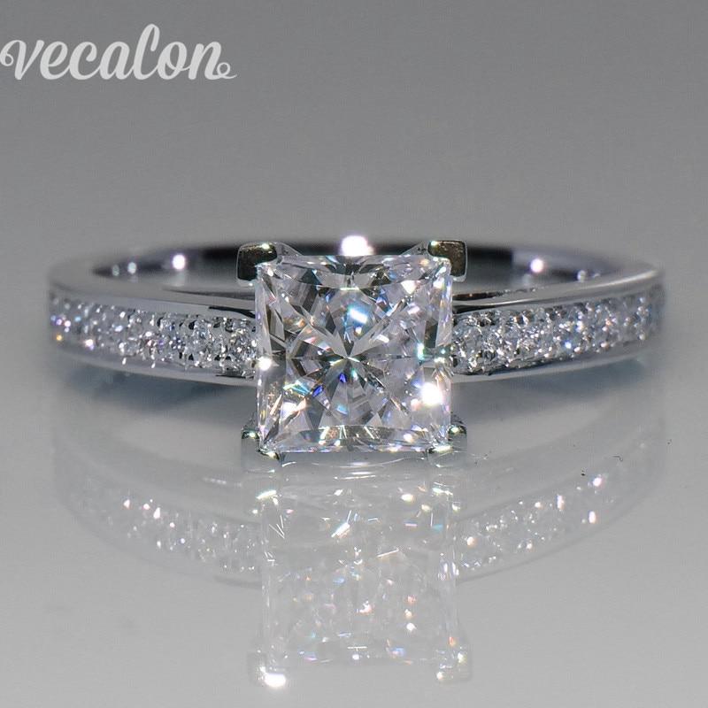 Vecalon Simple Bijoux anneau Princesse cut 1ct AAAAA Zircon Cz 925 En Argent Sterling Engagement Band anneau de mariage pour les femmes