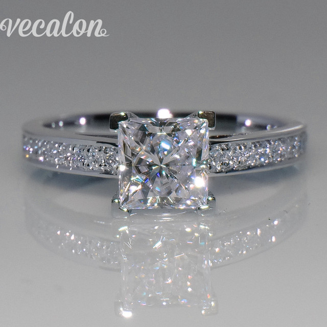 bridal engagement solitaire diamond wedding cut band cathedral ring princess set bands tapered product