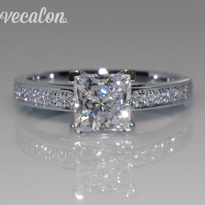 vecalon simple jewelry ring princess cut 1ct aaaaa zircon cz 925 sterling silver engagement wedding band - Simple Wedding Ring