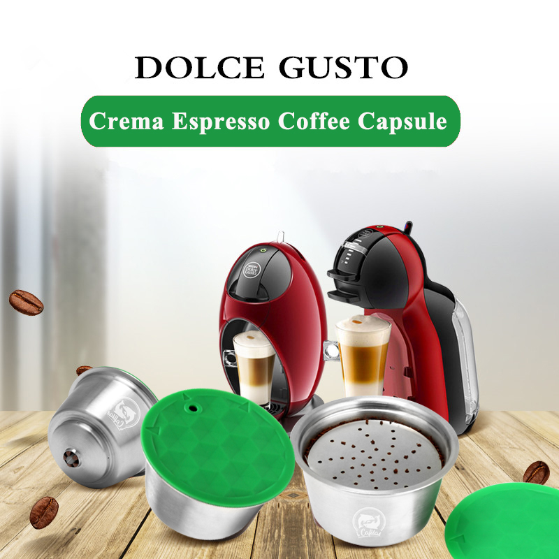 ICafilas Dolci Gusto STAINLESS STEEL Metal capsule Compatible with dolce gusto coffee Machine Refillable Reusable capsule