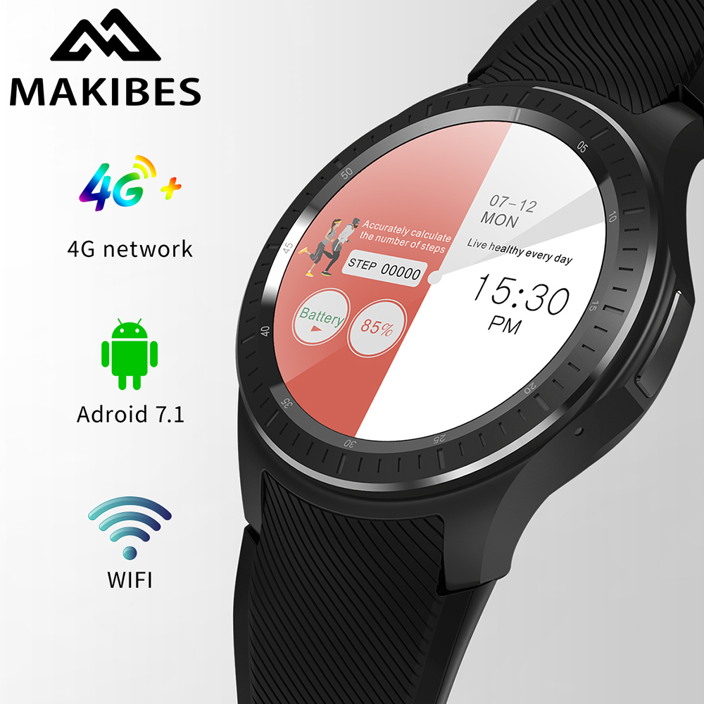 Makibes AT06 4 г gps Смарт Часы Приборы для измерения артериального давления Фитнес телефон слежения Android 7,1 600 мАч батарея Wi Fi Google xiaomi