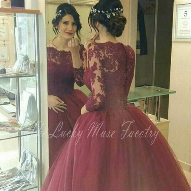 Burgundy Red Wine Cheap Quinceanera Gowns Long Sleeve Appliques Lace