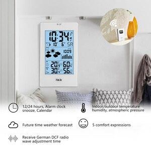 FanJu FJ3352 Погодная станция с барометром, прогноз температуры, влажности, беспроводной датчик, будильник и повтор, цифровые часы