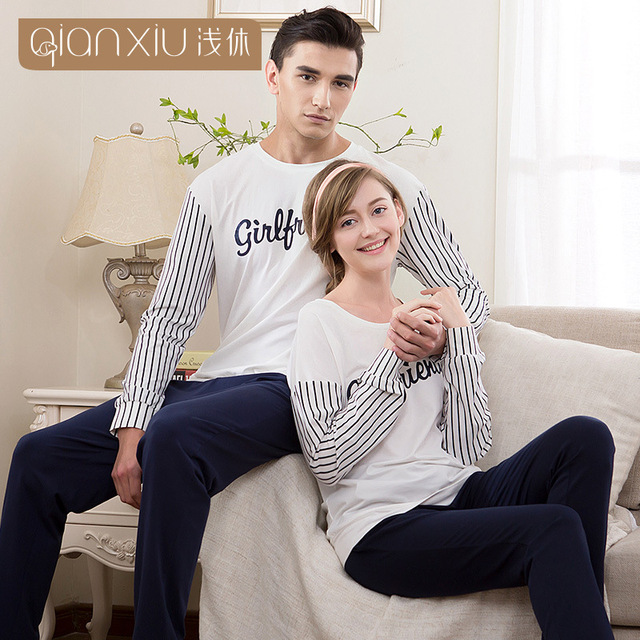 Qianxiu couple pajamas Long-sleeved stripe cotton stitch men sleepwear comfortable leisurewear pyjamas men pijama masculinos