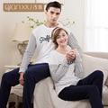 Qianxiu par pijama de manga larga de algodón de la raya de punto de los hombres ropa de dormir cómoda leisurewear pijamas hombres pijamas masculinos