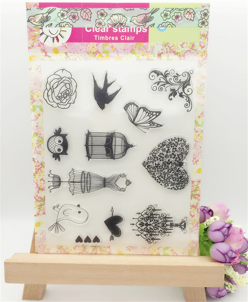 lovely bird and birdcagefor clear stamp designs scrapbooking photo album paper card silicone stamp craft CL-246 lovely animals and ballon design transparent clear silicone stamp for diy scrapbooking photo album clear stamp cl 278