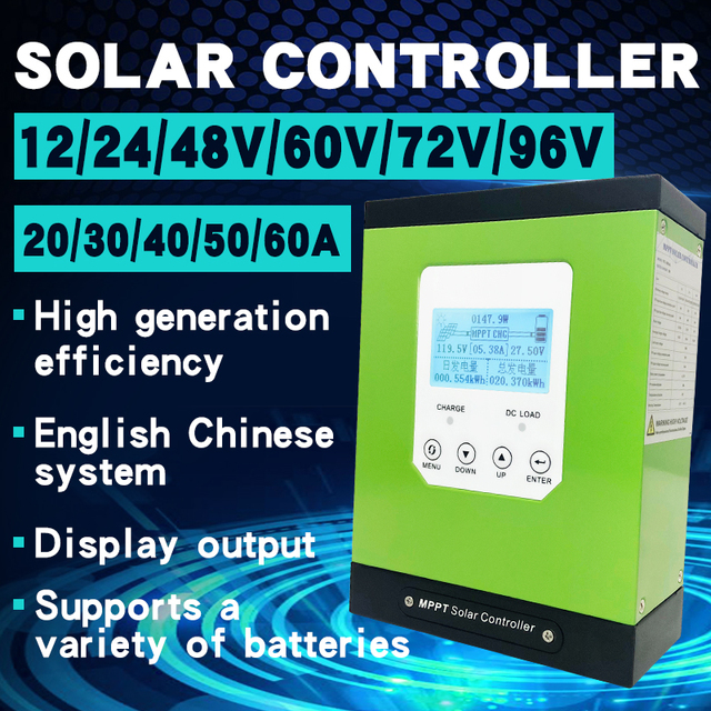 mppt solar charge controller 20a 30a 40a 50a 60a solar panel regulator 12V 24V 48V96 LCD auto lithium-ion battery lead-acid cell 2