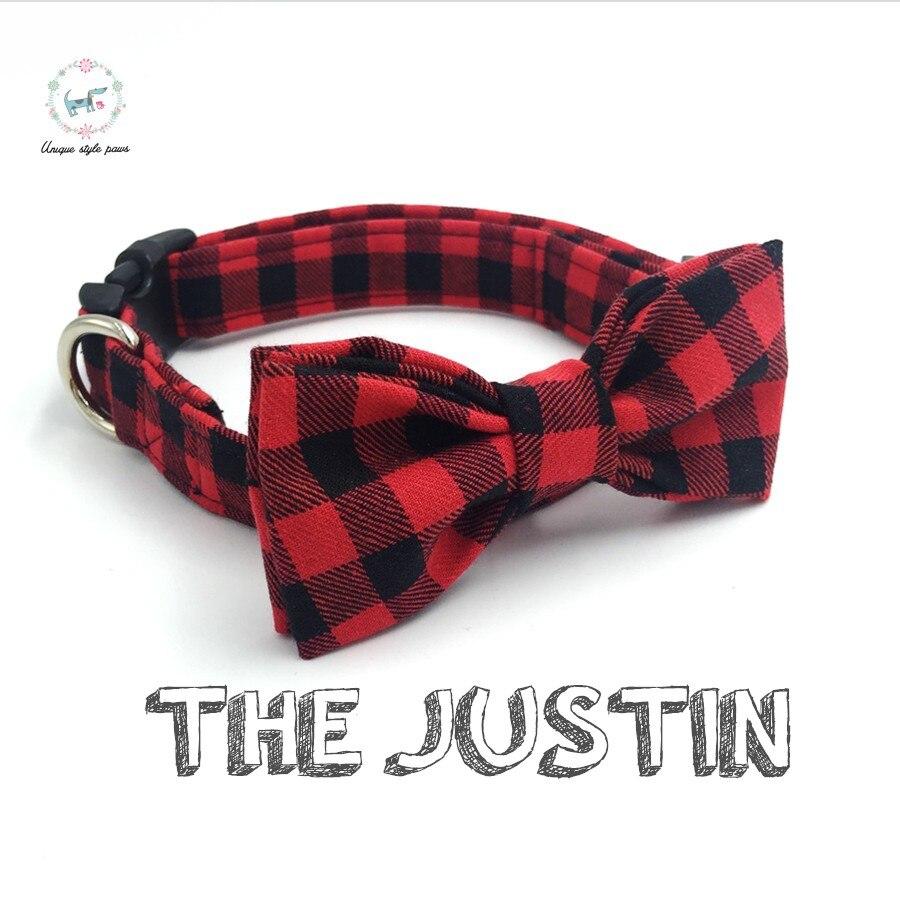 Rot und schwarz plaid hund kragen set mit fliege personalisierte hund halsbänder pet liefern designer produkt hund & katze halskette XS-XL
