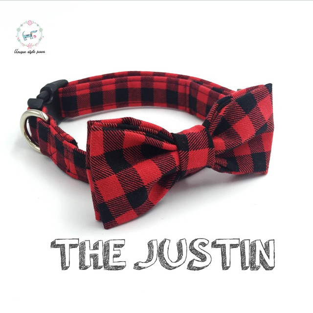 5f91bf52320d red and black plaid dog collar set with bow tie personalized dog collars  pet supply designer product dog &cat necklace XS-XL