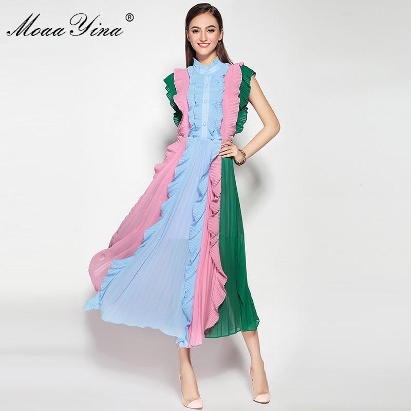MoaaYina Fashion Designer Runway Plus size Spring Dress Sleeveless Pleated Ruffles Patchwork Casual Holiday Rainbow Dress