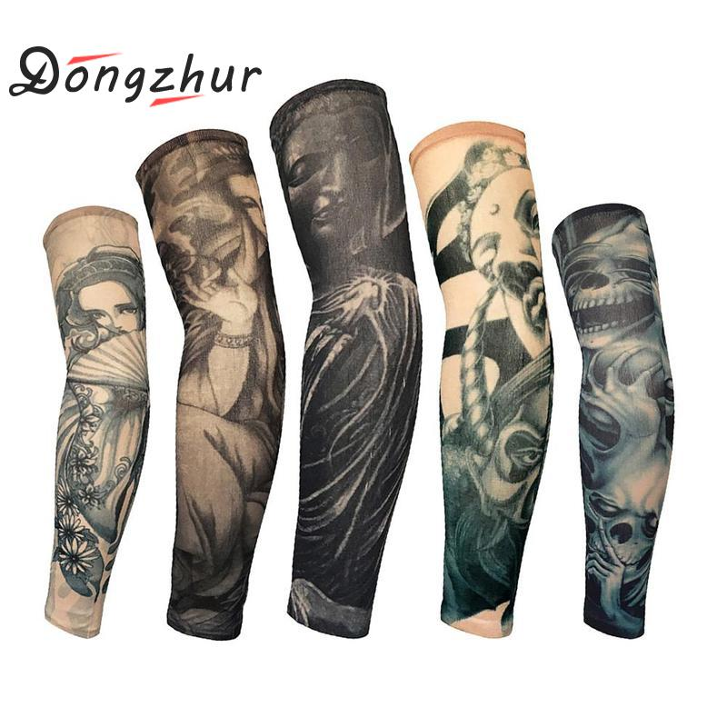 Arm-Warmers Tattoo-Sleeves Cycling Sun-Protection Running Sports Cool