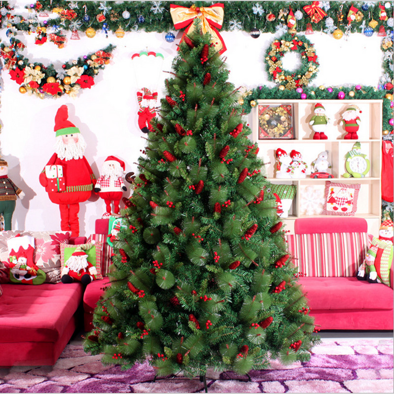 3.0 M 4.0m Large Mixing Red Berries Pinecone Christmas Tree Pine Needles Mixed Wholesale Christmas Tree