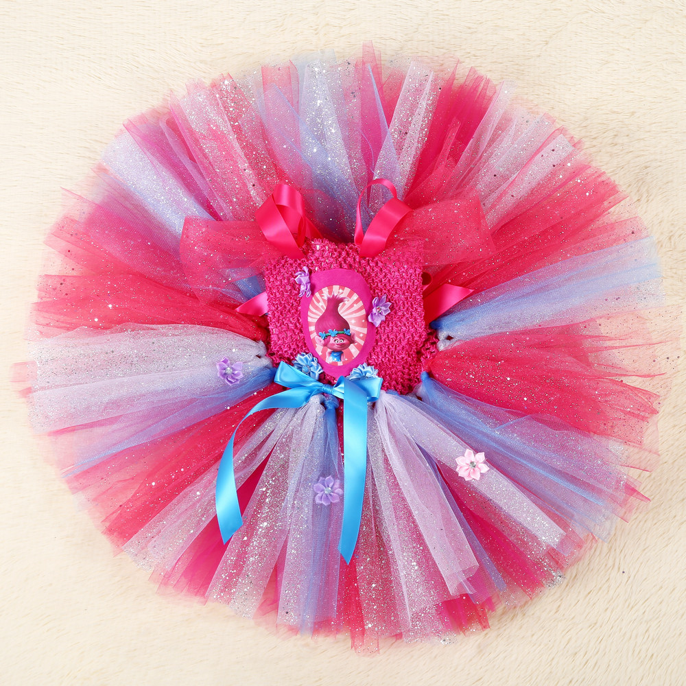 Girls Trolls Tutu Dress For Pageant Bling Ball Gown Cute Cartoon Poppy Kids Fluffy Birthday Party Dress Girls Costume in Dresses from Mother Kids
