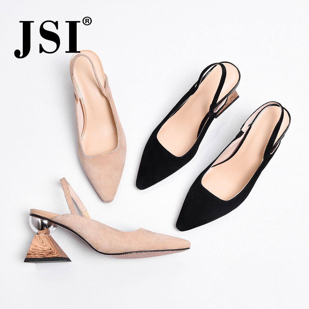 JSI New Casual Women Sandals Soft Kid Suede Strange Style Heel Sexy Pointed Toe Lady Shoes