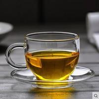 4pcs Heat resistant Glass Coffee Cup with saucer Water Cup Teacup for home office bar teahouse tearoom coffee shop bar