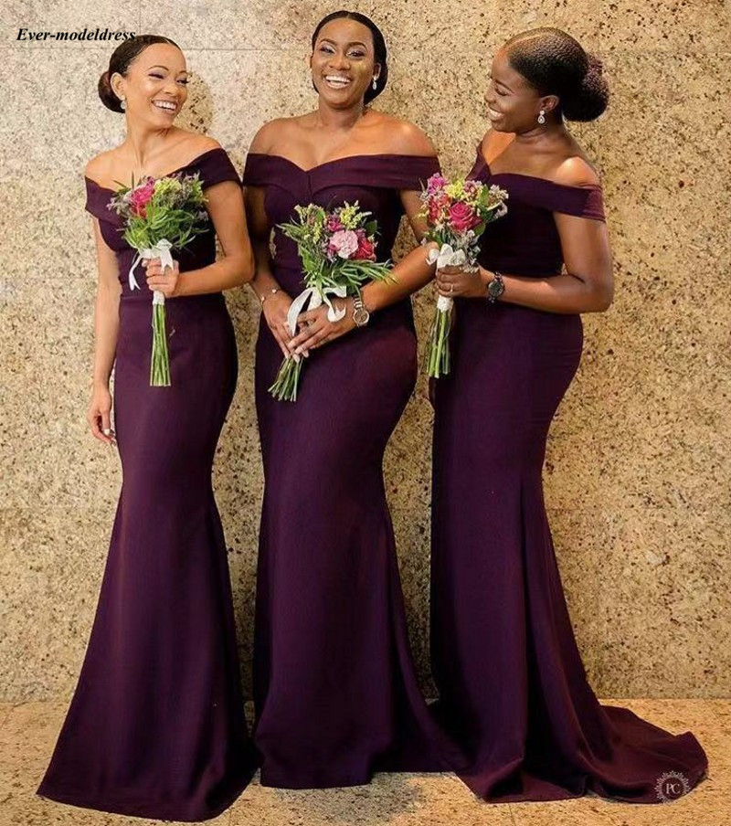 Simple Grape Mermaid Bridesmaid Dresses 2019 Off Shoulder Pleats Long Maid of Honor Dress Wedding Guest Party Gowns Cheap Custom