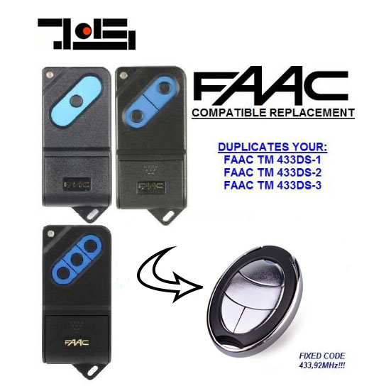 2pcs FAAC TM 433DS-1,TM 433DS-2,TM 433DS-3 compatible garage door remote control 433.92MHZ free shipping top quality and favorable price for faac tm 433ds 1 tm 433ds 2 tm 433ds 3 replacement remote control 433mhz