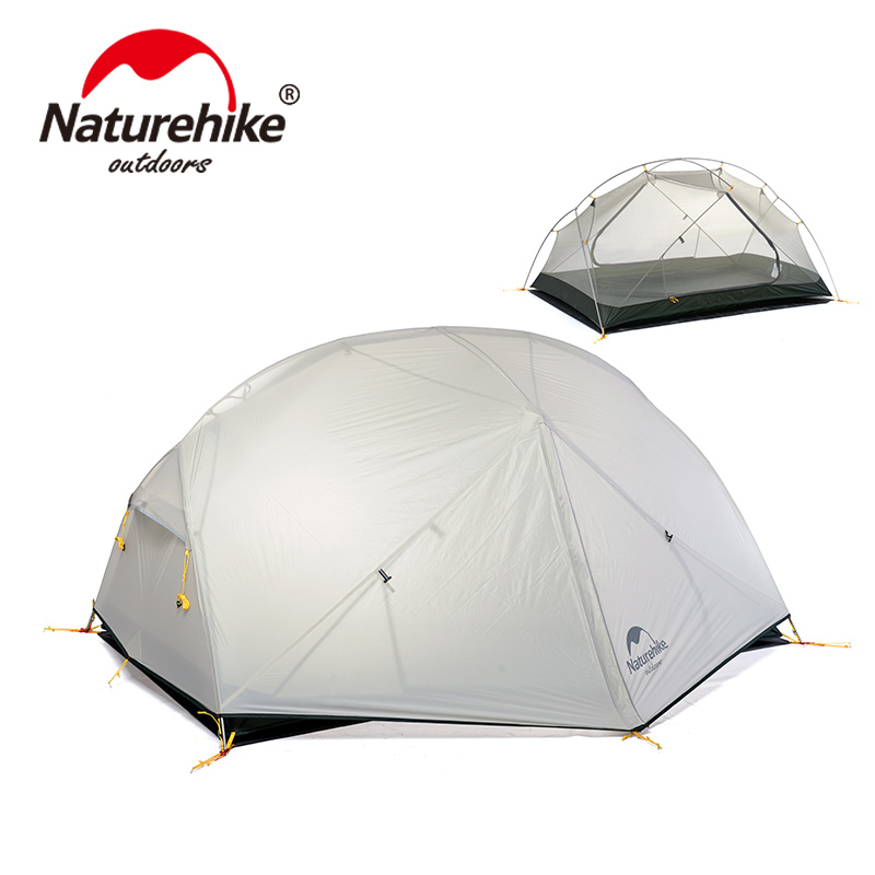 Naturehike Mongar 3 Temporada de Camping carpa 20D Fabic Nylon doble capa impermeable carpa 2 personas NH17T007-M