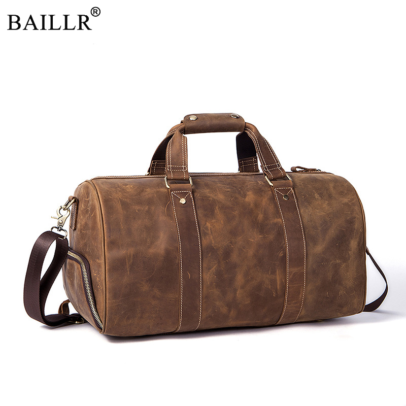 2018 New Vintage Crazy horse Genuine Leather Men Travel Bags Luggage Travel Bag Leather Men's Duffle Bags Large Men Weekend Bag simline vintage genuine crazy horse leather cowhide men large capacity travel duffle bag shoulder luggage bags handbag for men
