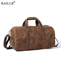 2018 New Vintage Crazy horse Genuine Leather Men Travel Bags Luggage Travel Bag Leather Men's Duffle Bags Large Men Weekend Bag