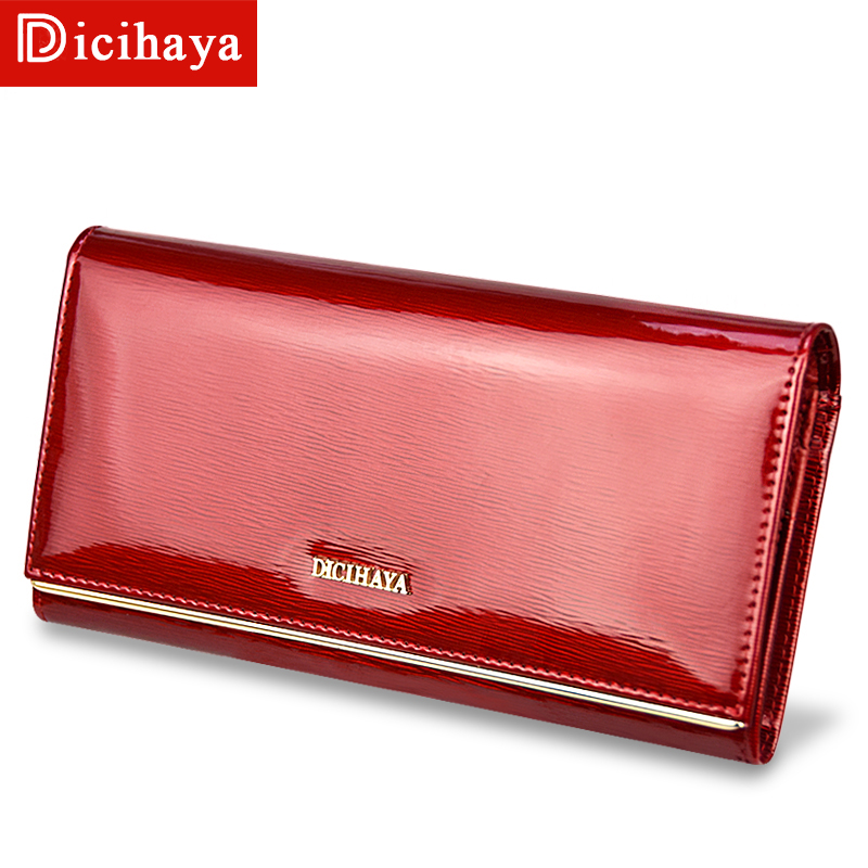 DICIHAYA Genuine Leather Women's Wallets Patent Leather Long Ladies Wallets Clutch Design Purse Hand Bags Women Purses BC150