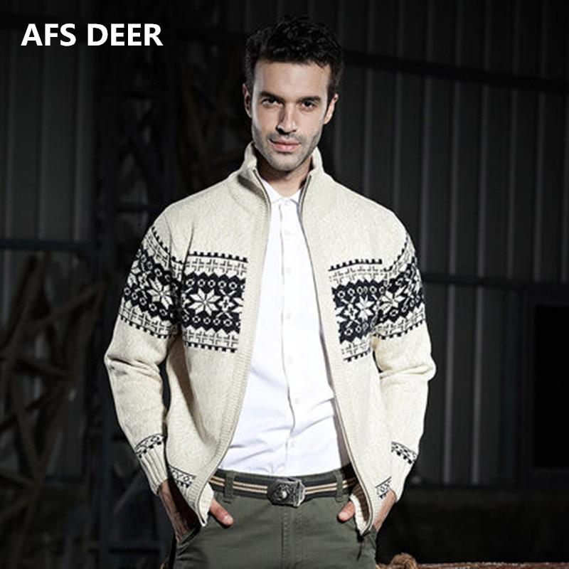 Nº2018 invierno hombre moda zipper geométrico tejido jacquard tejer ...