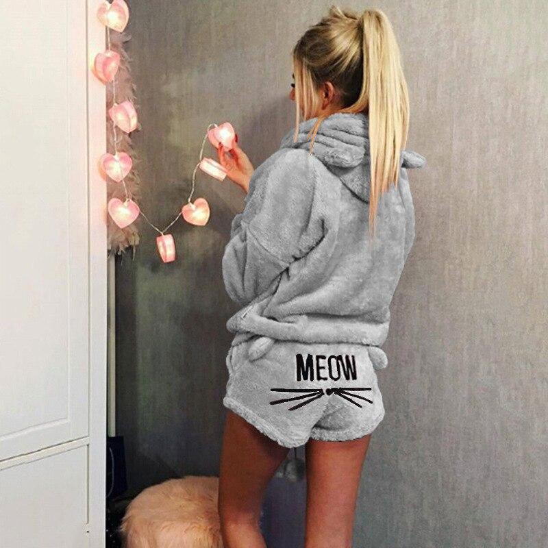 Nieuw Vrouwen Winter Warme Pyjama Pak Pluche Hoodie Leuke Cartoon Kat Patroon Shorts Vk-ing
