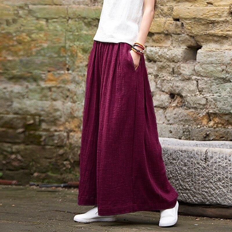 Plus Size M-6XL Elegant Double decker cotton Women Candy Solid Color Casual Loose Elastic Waist   Wide     Leg     Pants   Women Clothing