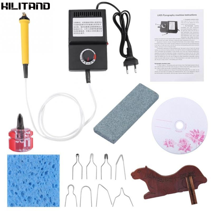 LH25 25W Pyrography Pen Machine Kit Wood Burning Electric Soldering Irons Crafts Tools Tip Holder Wood