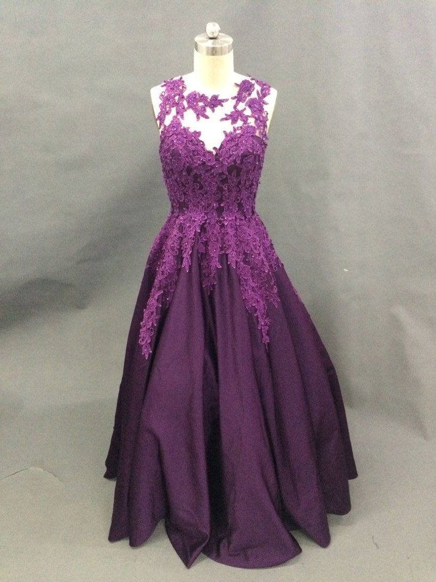 Real Photo  A-Line Tank Sleeveless Satin Purple Prom Dresses Long Lace Appliques Prom Party Dresses With Beads