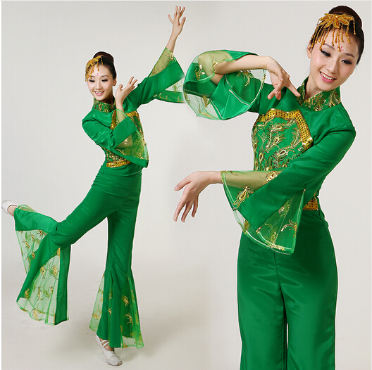 green fan dance costumes female green yangko dance Chinese classical dance clothing folk dance stage performance costumes