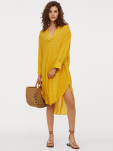 MINSUNDA Yellow Deep V Neck Curved Hem Shirt Dress Women Slit Cuff Summer Long Sleeve Beach Dresses Ladies Casual Straight Dress