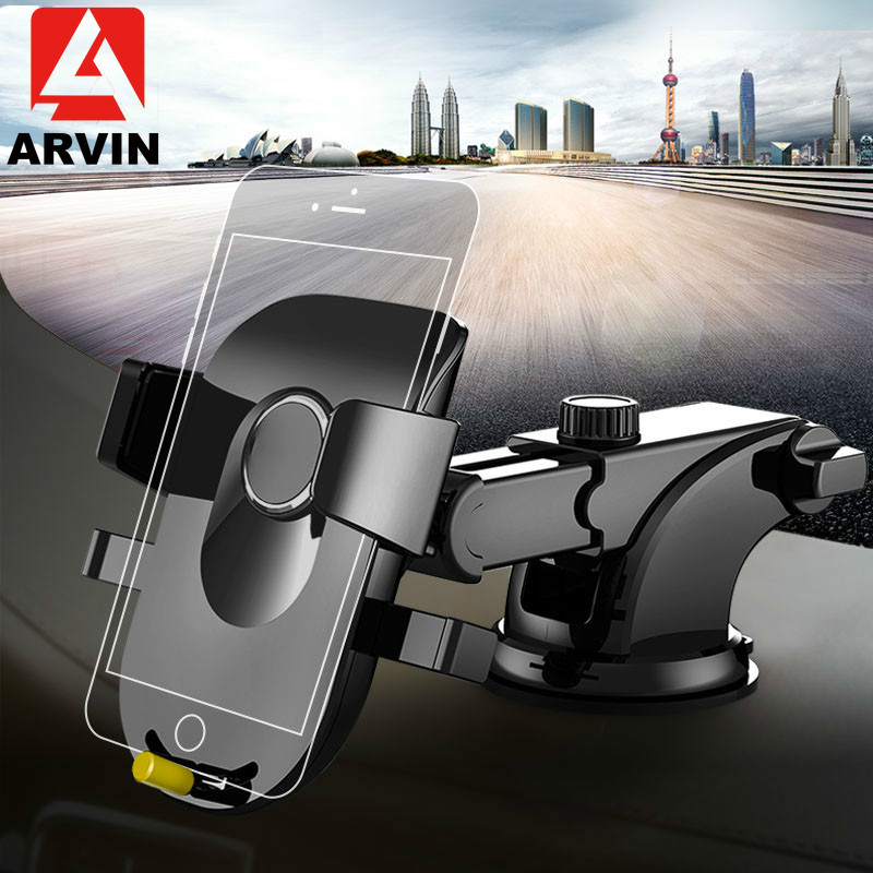 Arvin Luxury Car Phone Holder For iPhone X XR 8 Plus Windshield Rotation Mount in Stand Samsung S9 S8 Bracket